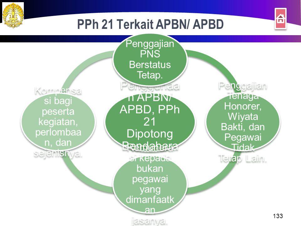 PPh 21 Terkait APBN/ APBD Penggunaan APBN/ APBD, PPh 21 Dipotong Bendaharawan. Penggajian PNS Berstatus Tetap.