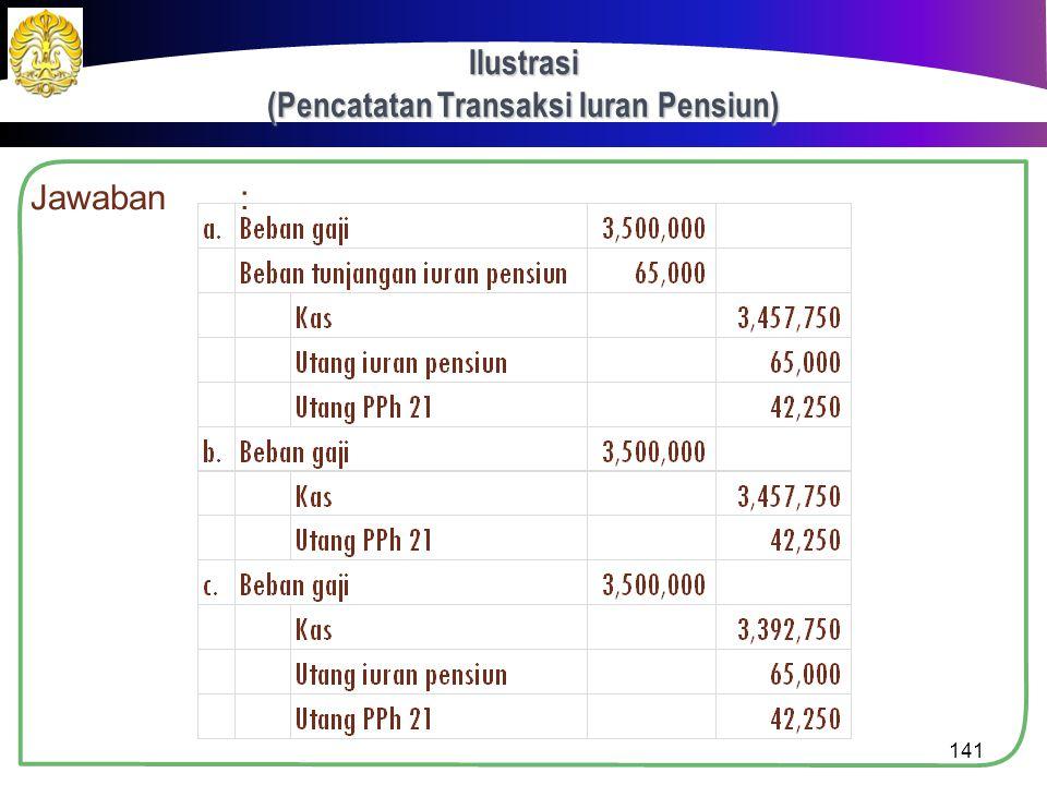 Ilustrasi (Pencatatan Transaksi Iuran Pensiun)