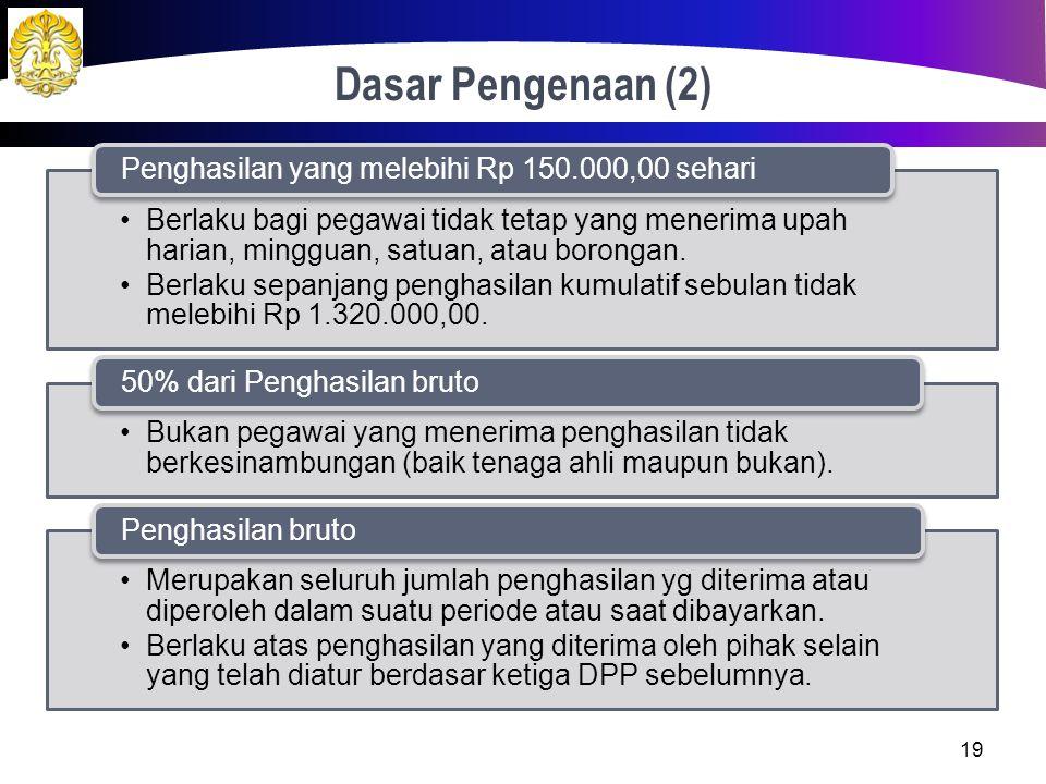 Dasar Pengenaan (2) Penghasilan yang melebihi Rp 150.000,00 sehari