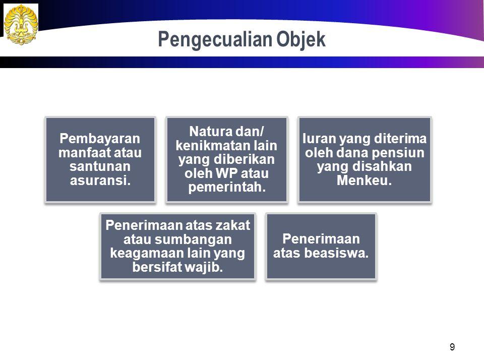 Pengecualian Objek Pembayaran manfaat atau santunan asuransi. Natura dan/ kenikmatan lain yang diberikan oleh WP atau pemerintah.