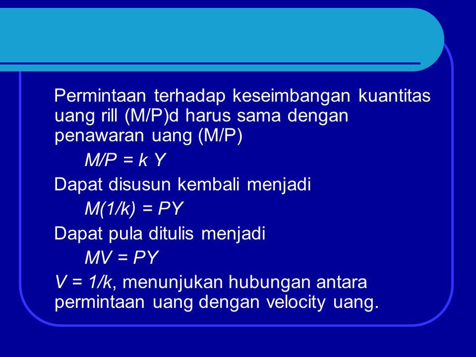 Permintaan terhadap keseimbangan kuantitas uang rill (M/P)d harus sama dengan penawaran uang (M/P)