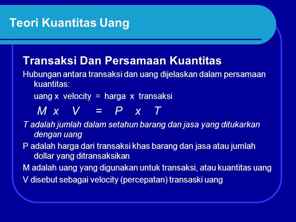 Teori Kuantitas Uang Transaksi Dan Persamaan Kuantitas M x V = P x T