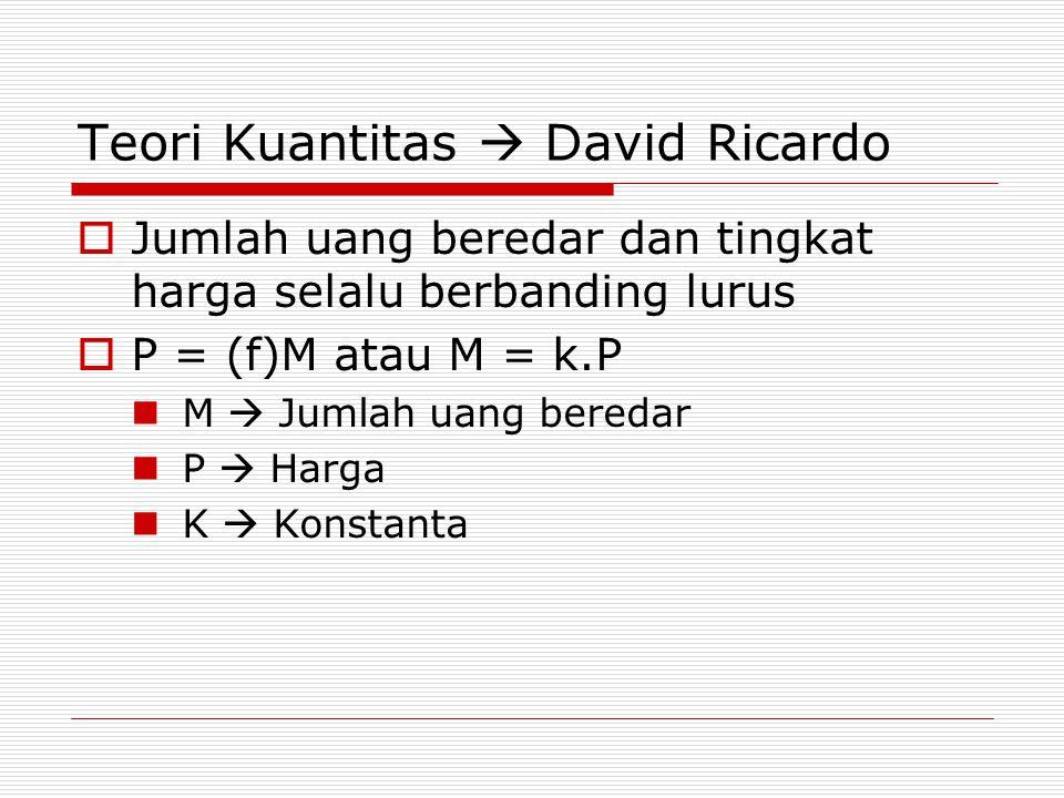 Teori Kuantitas  David Ricardo