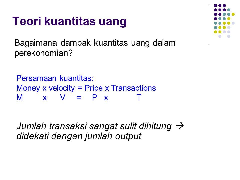 Teori kuantitas uang Bagaimana dampak kuantitas uang dalam perekonomian Persamaan kuantitas: Money x velocity = Price x Transactions.