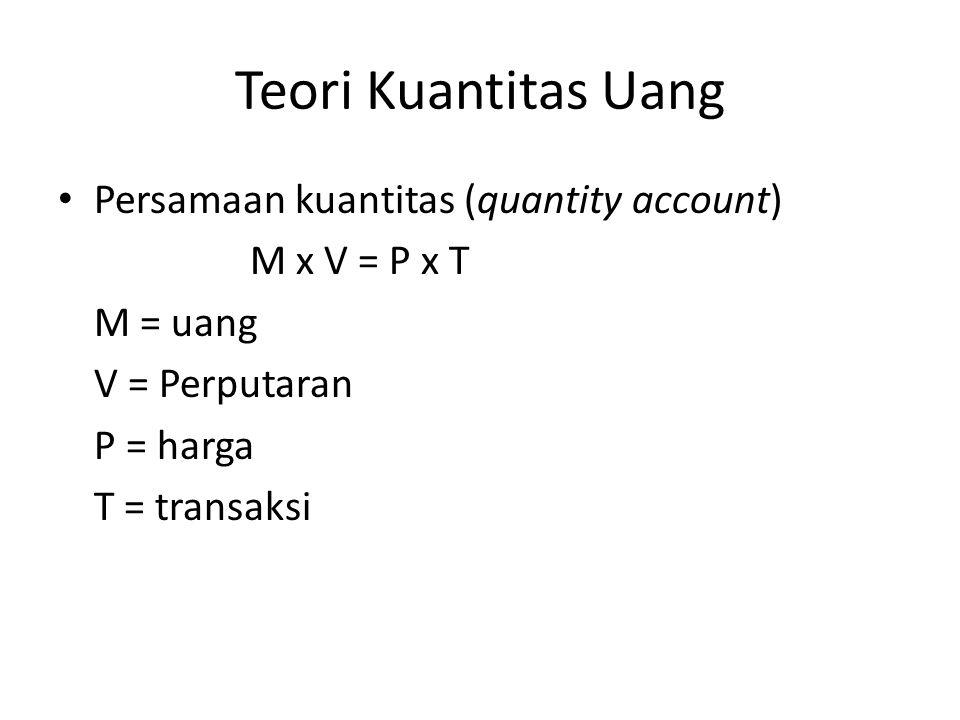 Teori Kuantitas Uang Persamaan kuantitas (quantity account)