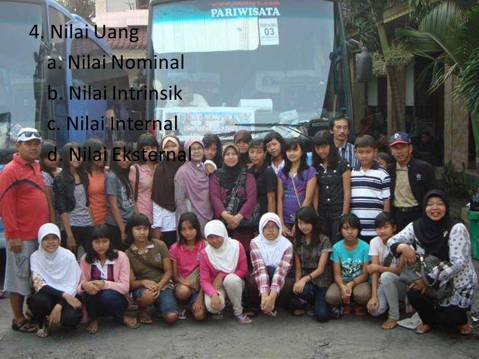 4. Nilai Uang a. Nilai Nominal b. Nilai Intrinsik c. Nilai Internal d