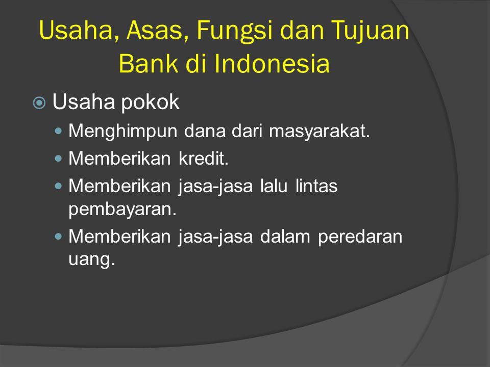 Usaha, Asas, Fungsi dan Tujuan Bank di Indonesia