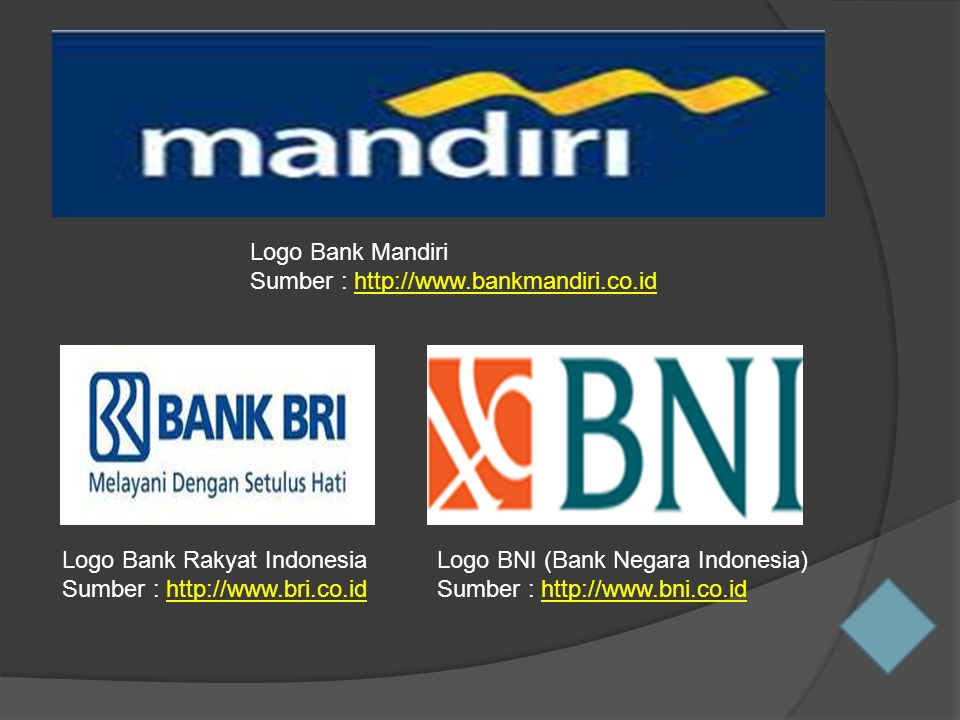 Logo Bank Mandiri Sumber : http://www.bankmandiri.co.id. Logo Bank Rakyat Indonesia. Sumber : http://www.bri.co.id.