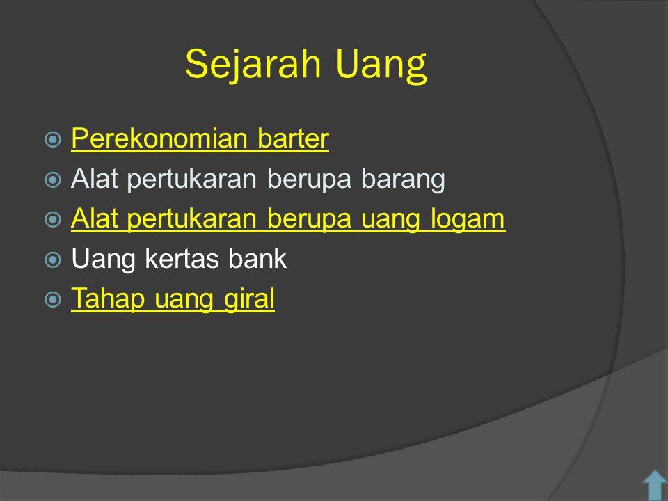 Sejarah Uang Perekonomian barter Alat pertukaran berupa barang