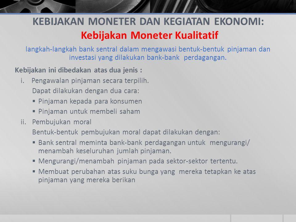 KEBIJAKAN MONETER DAN KEGIATAN EKONOMI: Kebijakan Moneter Kualitatif