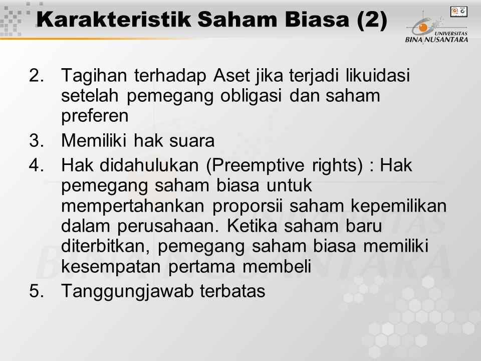Karakteristik Saham Biasa (2)
