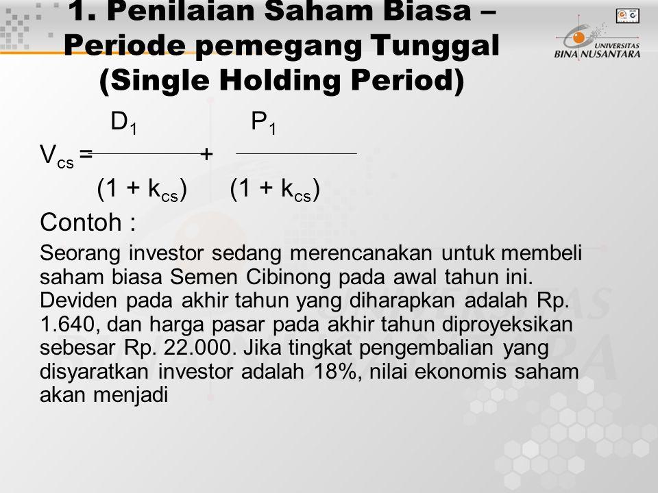 1. Penilaian Saham Biasa – Periode pemegang Tunggal (Single Holding Period)