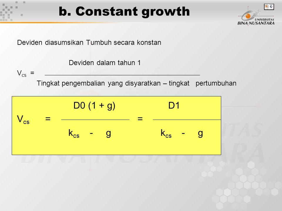 b. Constant growth Vcs = = kcs - g kcs - g