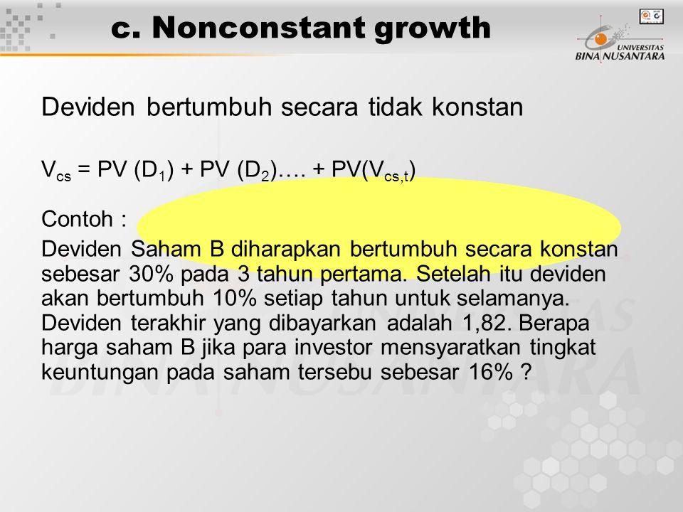 c. Nonconstant growth Deviden bertumbuh secara tidak konstan