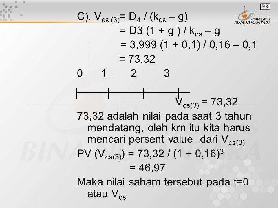 C). Vcs (3)= D4 / (kcs – g) = D3 (1 + g ) / kcs – g. = 3,999 (1 + 0,1) / 0,16 – 0,1. = 73,32. 0 1 2 3.