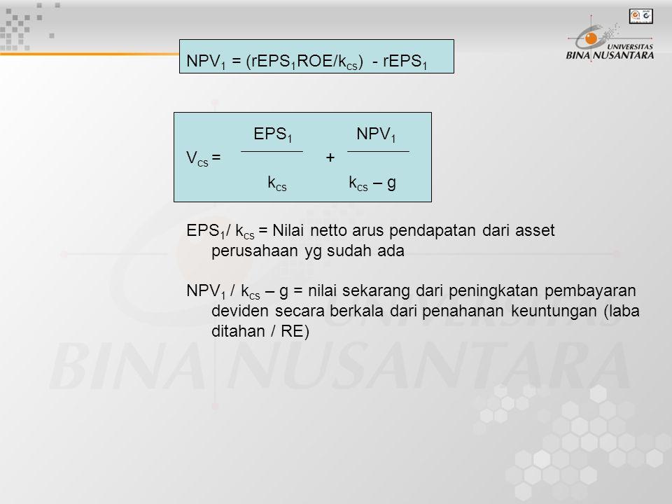NPV1 = (rEPS1ROE/kcs) - rEPS1