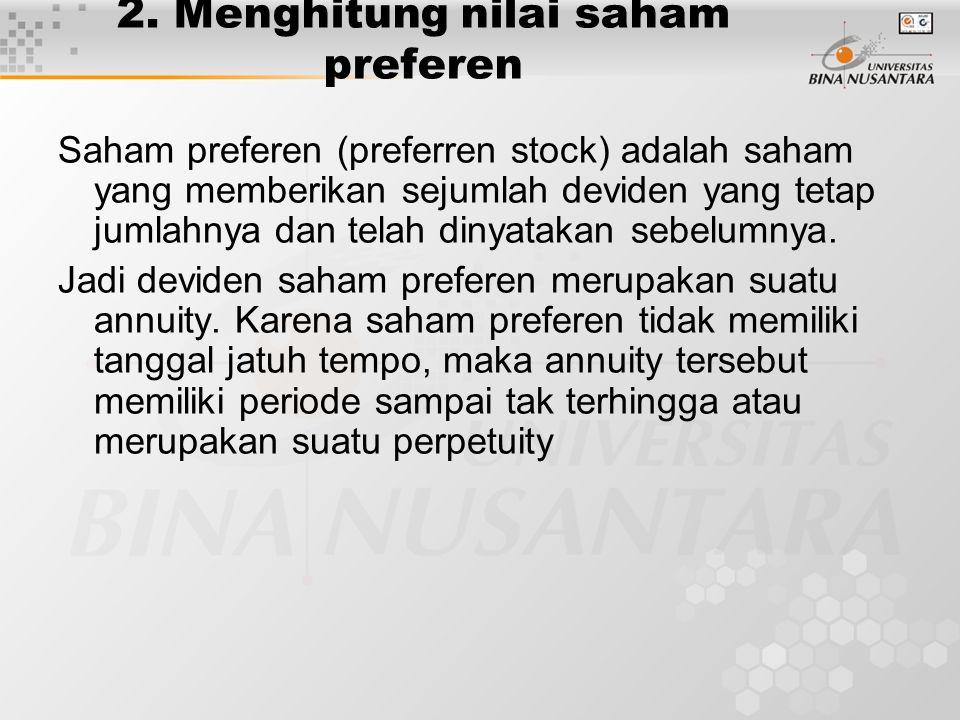 2. Menghitung nilai saham preferen