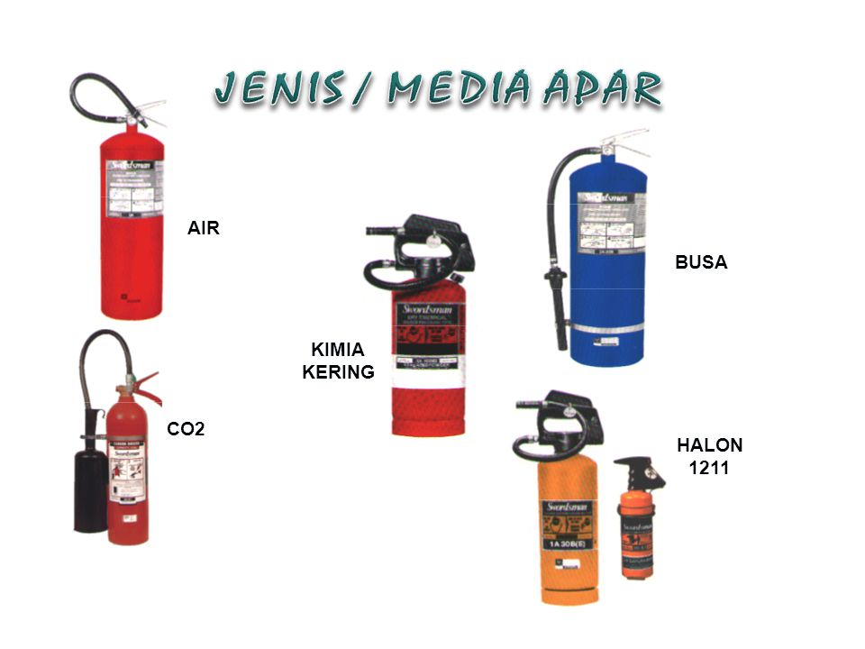 JENIS / MEDIA APAR AIR BUSA KIMIA KERING CO2 HALON 1211