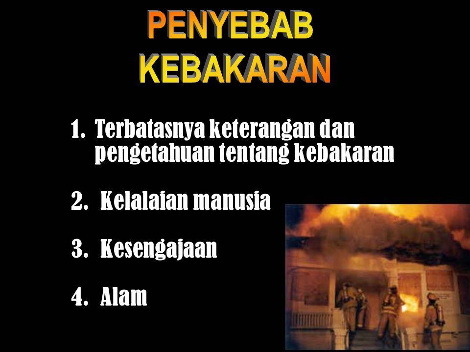 PENYEBAB KEBAKARAN. Terbatasnya keterangan dan pengetahuan tentang kebakaran. Kelalaian manusia. Kesengajaan.