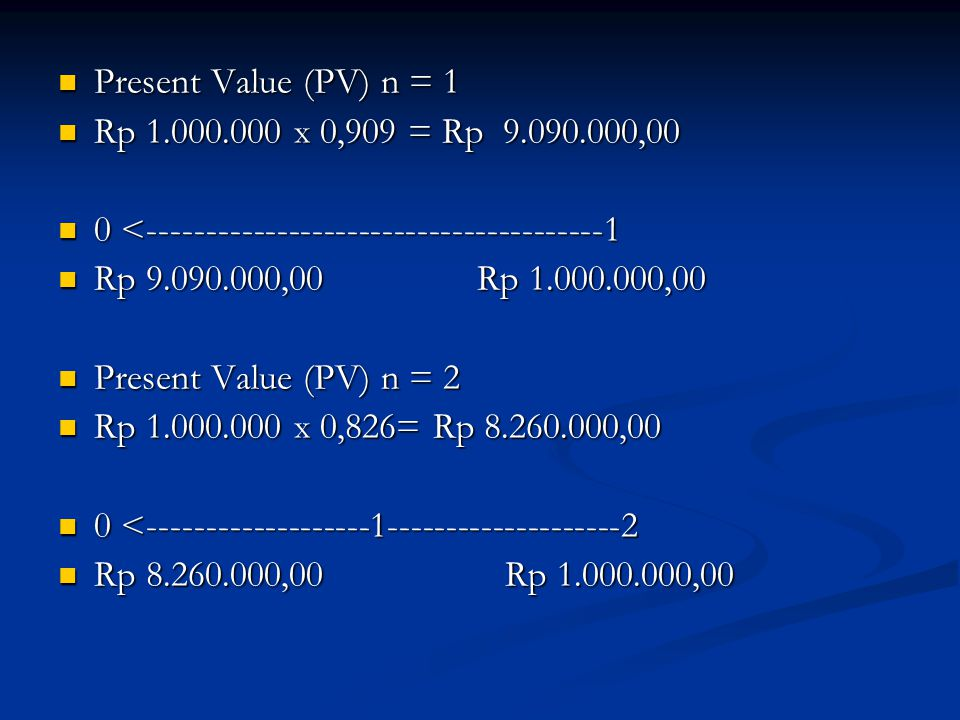 Present Value (PV) n = 1 Rp 1.000.000 x 0,909 = Rp 9.090.000,00. 0 <---------------------------------------1.
