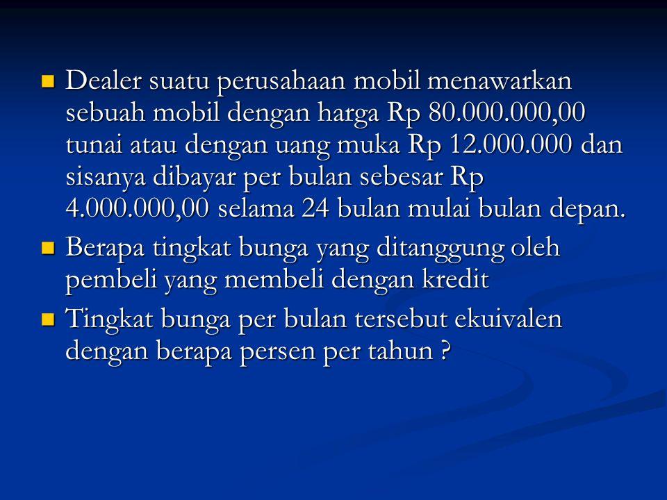 Dealer suatu perusahaan mobil menawarkan sebuah mobil dengan harga Rp 80.000.000,00 tunai atau dengan uang muka Rp 12.000.000 dan sisanya dibayar per bulan sebesar Rp 4.000.000,00 selama 24 bulan mulai bulan depan.