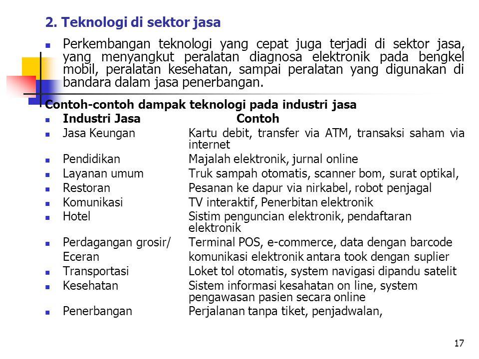 2. Teknologi di sektor jasa