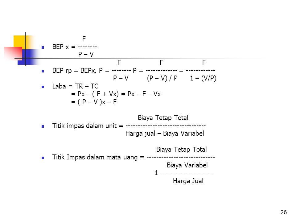 F BEP x = -------- P – V. F F F. BEP rp = BEPx. P = -------- P = ------------- = ------------