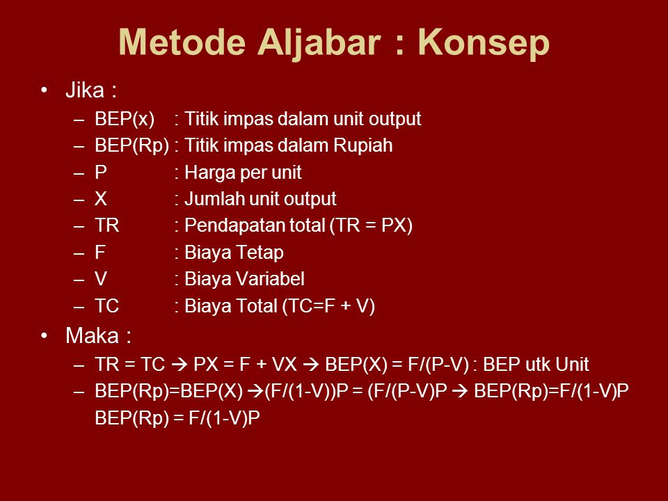 Metode Aljabar : Konsep