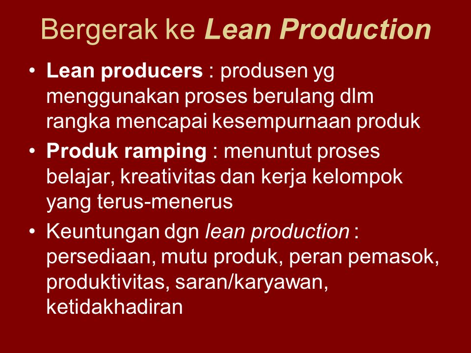 Bergerak ke Lean Production