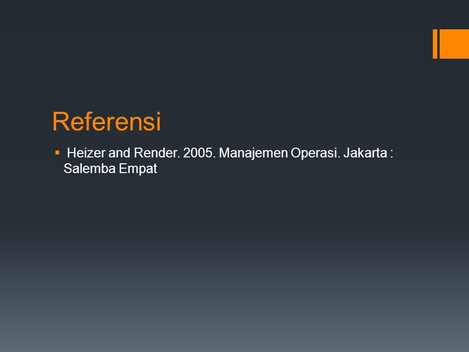 Referensi Heizer and Render. 2005. Manajemen Operasi. Jakarta : Salemba Empat