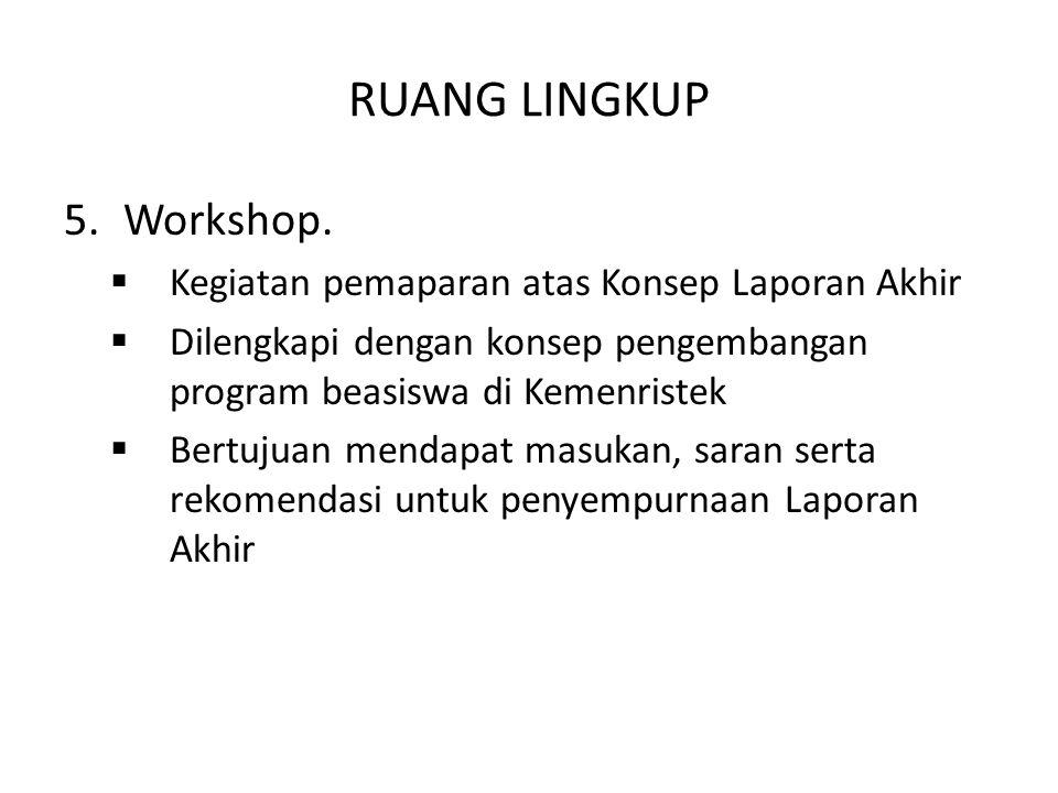 RUANG LINGKUP Workshop. Kegiatan pemaparan atas Konsep Laporan Akhir