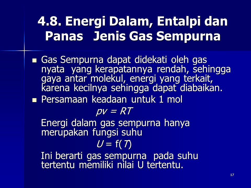 4.8. Energi Dalam, Entalpi dan Panas Jenis Gas Sempurna