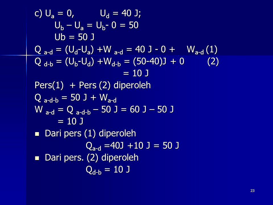 c) Ua = 0, Ud = 40 J; Ub – Ua = Ub- 0 = 50. Ub = 50 J. Q a-d = (Ud-Ua) +W a-d = 40 J - 0 + Wa-d (1)