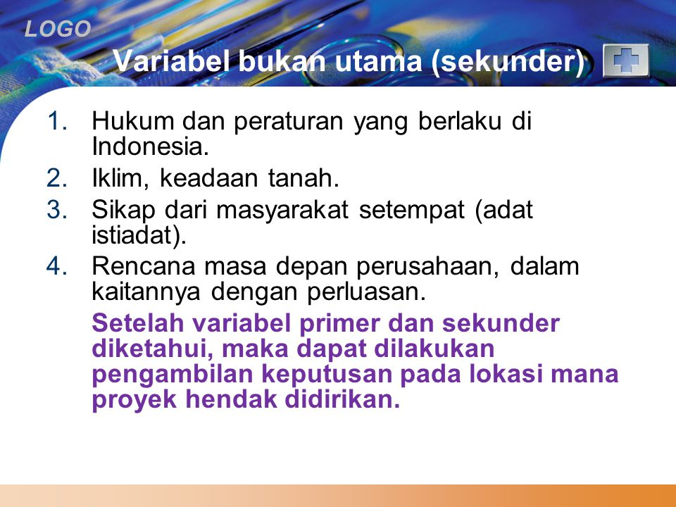 Variabel bukan utama (sekunder)
