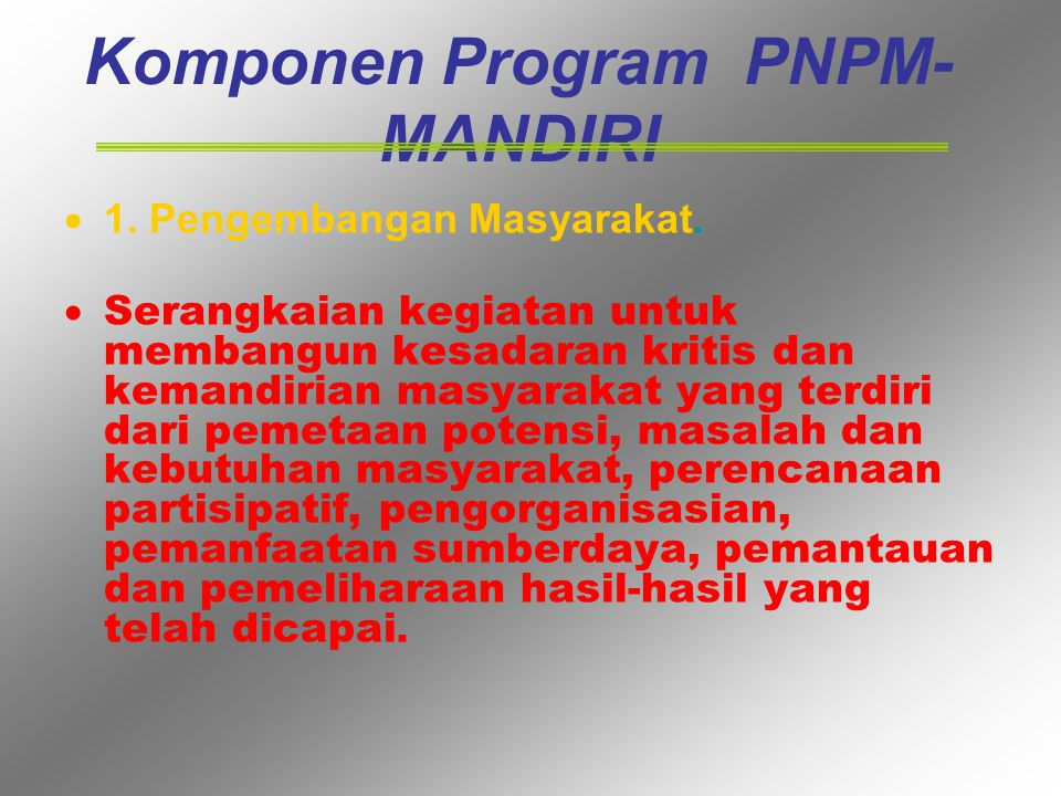 Komponen Program PNPM-MANDIRI
