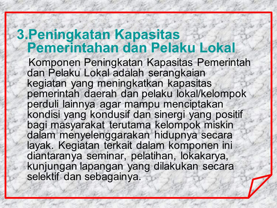 3.Peningkatan Kapasitas Pemerintahan dan Pelaku Lokal