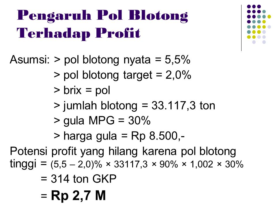 Pengaruh Pol Blotong Terhadap Profit