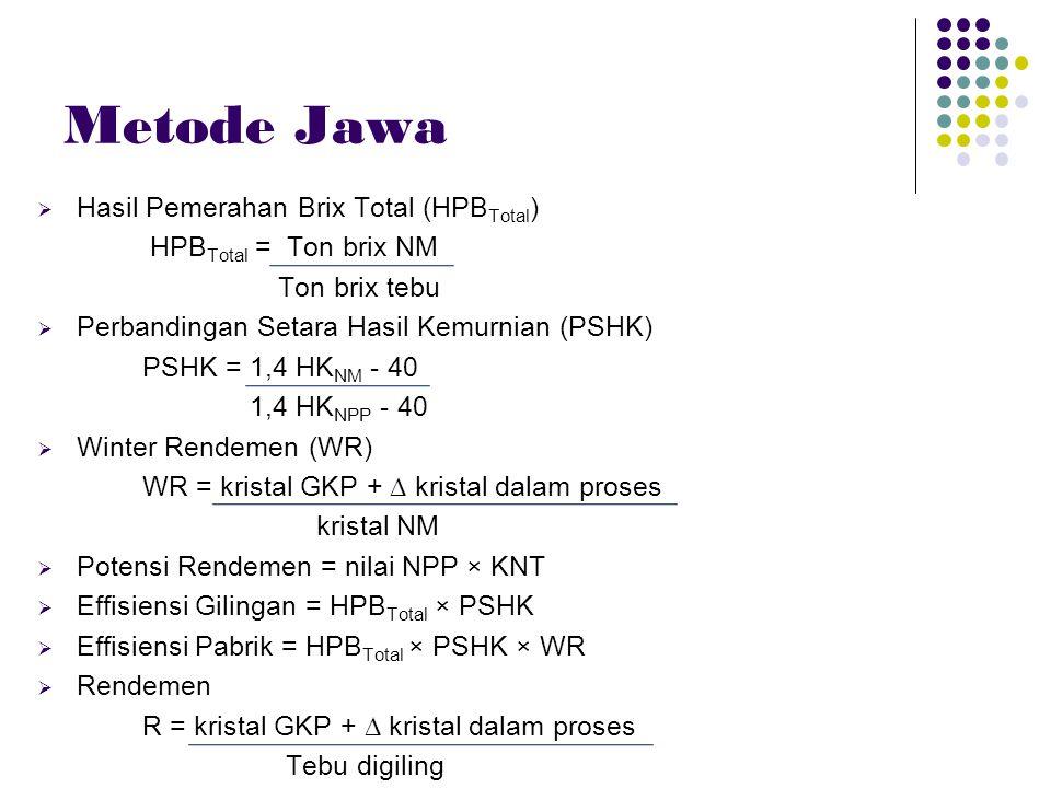 Metode Jawa Hasil Pemerahan Brix Total (HPBTotal)