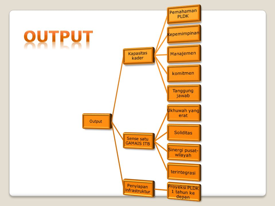 OUTPUT Output Kapasitas kader Pemahaman PLDK Kepemimpinan Manajemen