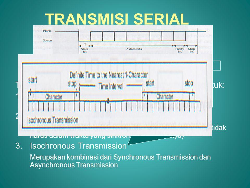 TRANSMISI SERIAL Transmisi serial dapat dikelompokkan dalam tiga bentuk: Synchronous Transmission.