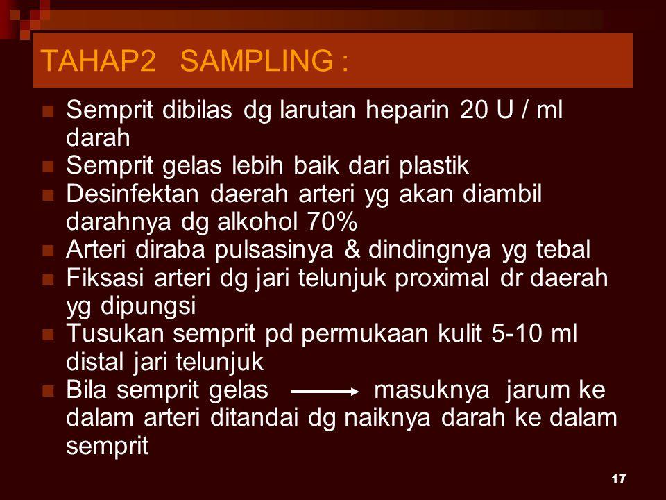 TAHAP2 SAMPLING : Semprit dibilas dg larutan heparin 20 U / ml darah