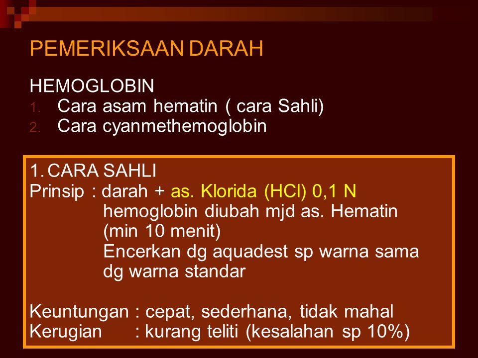 PEMERIKSAAN DARAH HEMOGLOBIN Cara asam hematin ( cara Sahli)