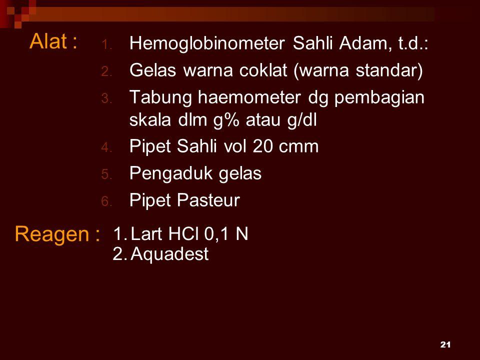Alat : Reagen : Hemoglobinometer Sahli Adam, t.d.: