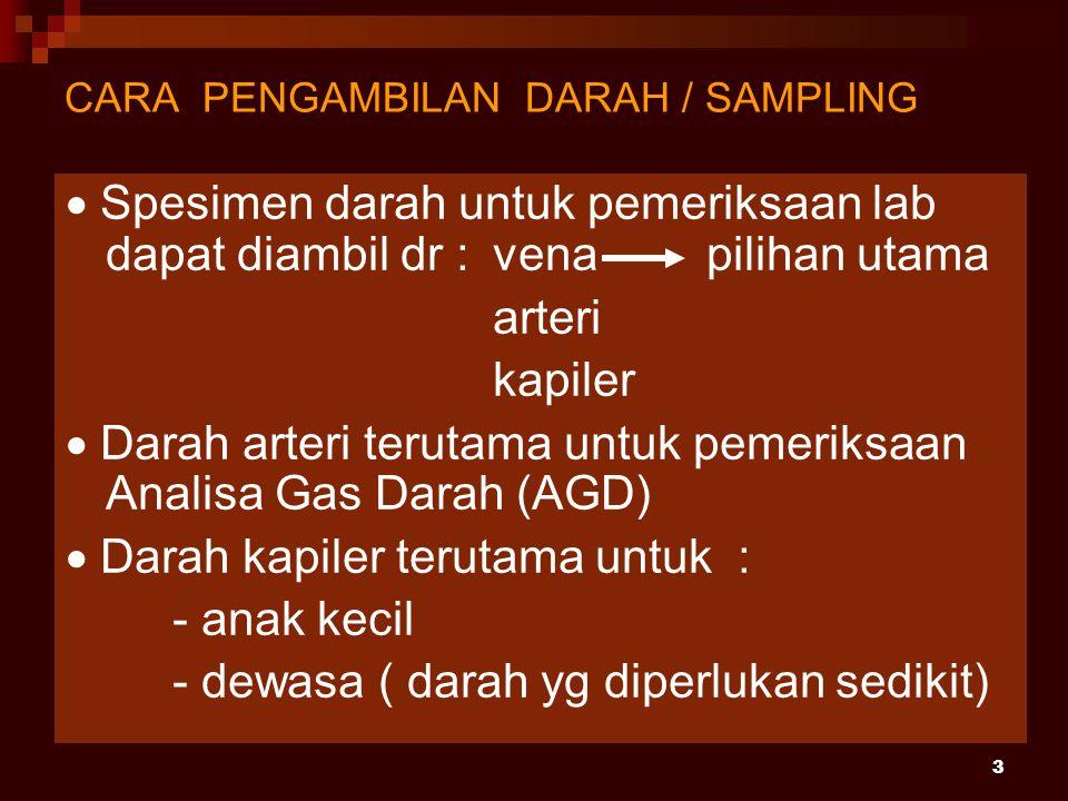 CARA PENGAMBILAN DARAH / SAMPLING