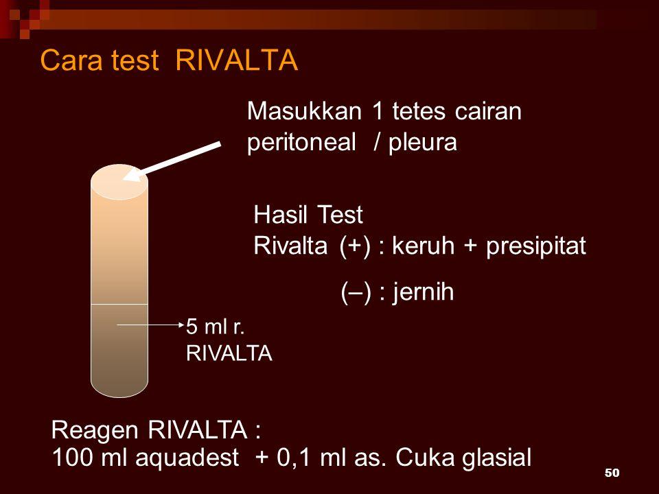 Cara test RIVALTA Masukkan 1 tetes cairan peritoneal / pleura