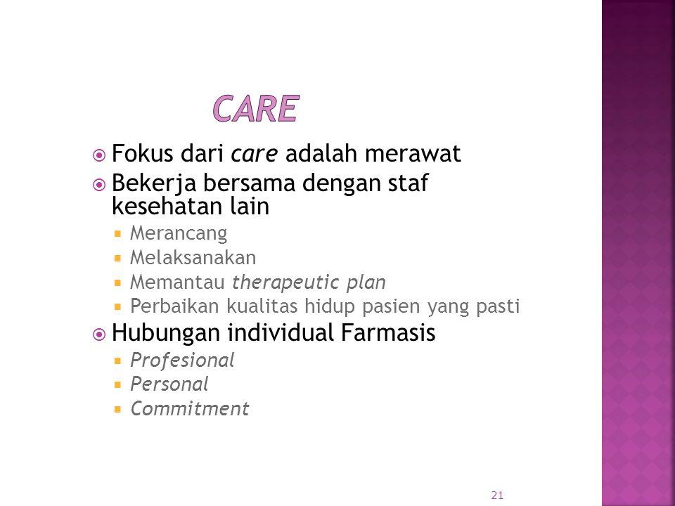 Care Fokus dari care adalah merawat