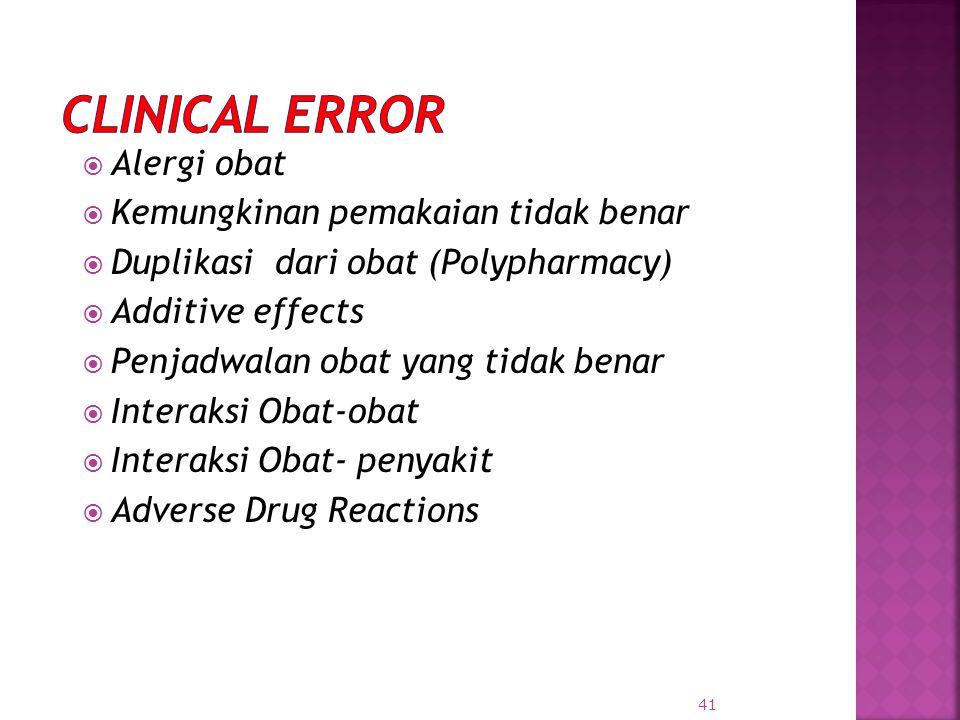 Clinical Error Alergi obat Kemungkinan pemakaian tidak benar