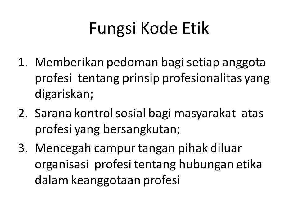 Fungsi Kode Etik Memberikan pedoman bagi setiap anggota profesi tentang prinsip profesionalitas yang digariskan;