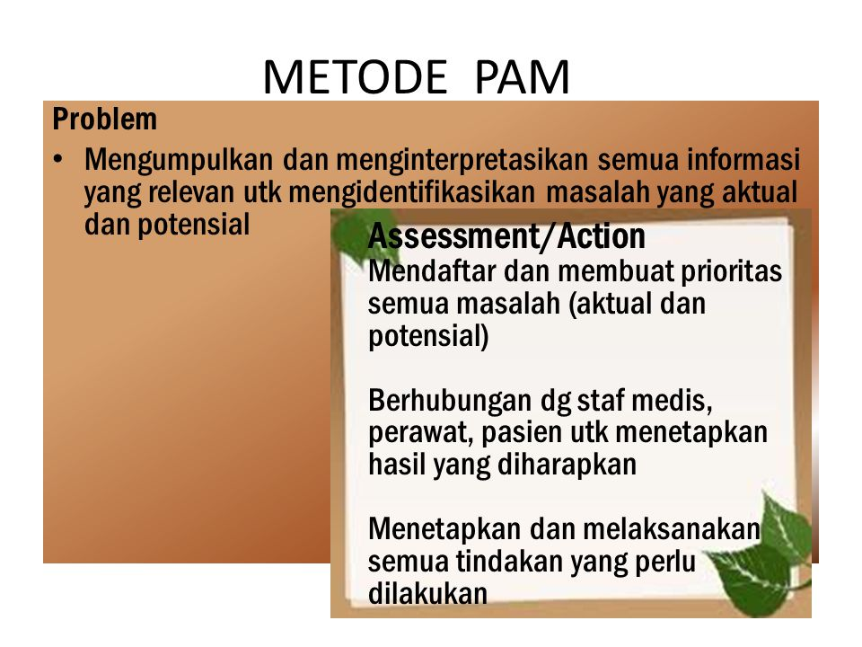 METODE PAM Assessment/Action Problem