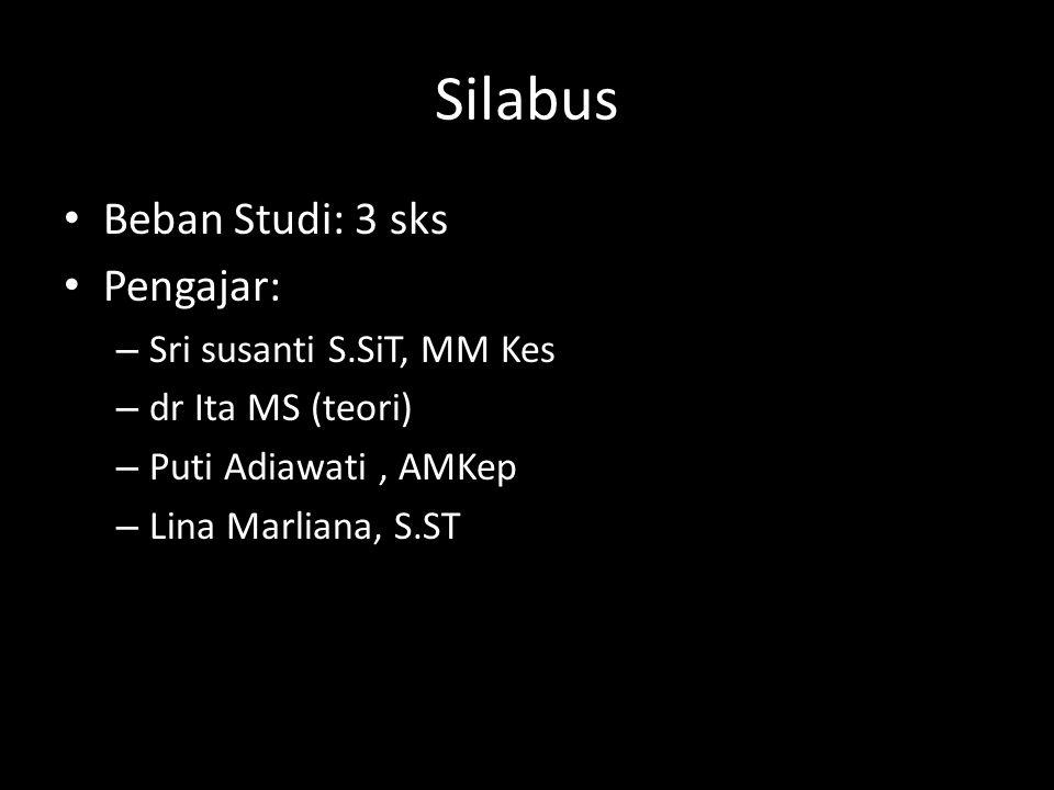 Silabus Beban Studi: 3 sks Pengajar: Sri susanti S.SiT, MM Kes